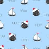 Безшовная морская картина с матросом и кораблями кота Стоковое Изображение