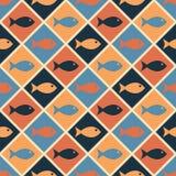 Безшовная морская картина с милыми рыбами Стоковые Изображения RF