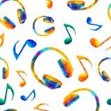 Безшовная музыкальная картина - примечания, наушники Стоковые Фотографии RF