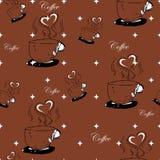 Безшовная нарисованная вручную картина кофе Стоковые Фото