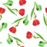 Безшовная нарисованная вручную картина с тюльпанами Стоковые Фото