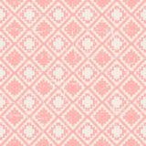 Безшовная несенная вне винтажная розовая предпосылка картины проверки диаманта пиксела Стоковая Фотография