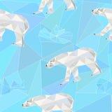 Безшовная низкая поли картина с полярными медведями Стоковые Фото