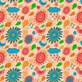 Безшовная оранжевая картина с птицами, цветками и листьями Стоковые Изображения RF
