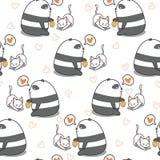 Безшовная панда кормит картину кота иллюстрация вектора