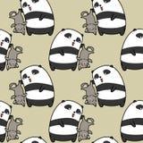 Безшовная панда улавливает картину кота иллюстрация вектора