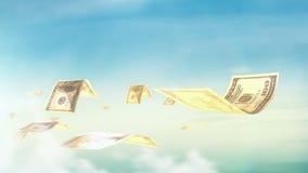Безшовная петля, реалистическая анимация денег Концепция экономических и дела акции видеоматериалы
