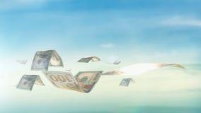 Безшовная петля, реалистическая анимация денег Экономический, концепция финансов сток-видео