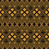 Безшовная племенная картина квадратов, ручек, треугольников и точек иллюстрация штока