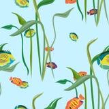 Безшовная повторяя картина от разнообразие рыб и водорослей Стоковые Изображения