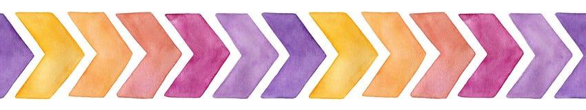 Безшовная повторяя картина с милыми стрелками шеврона акварели других цветов желтых, пинк границы, пурпурные изменения иллюстрация вектора