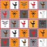 Безшовная повторяя текстура с изображениями старых знаков и символов Стоковые Изображения