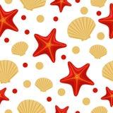 Безшовная подводная картина моря с морскими звёздами и раковиной Абстрактную предпосылку повторения, красочная иллюстрация вектор бесплатная иллюстрация