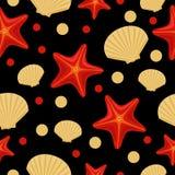 Безшовная подводная картина моря с морскими звёздами и раковиной Абстрактную предпосылку повторения, красочная иллюстрация вектор иллюстрация вектора