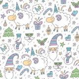 Безшовная покрашенная картина рождества с овцами Иллюстрация вектора