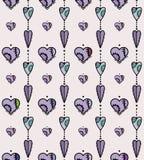 Безшовная покрашенная картина с сердцами Стоковая Фотография RF