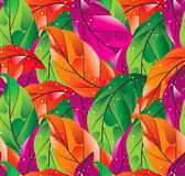 Безшовная покрашенная предпосылка листьев Стоковое Изображение