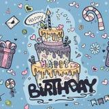 Безшовная покрашенная текстура сини doodles к дню рождения иллюстрация вектора