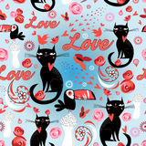 Безшовная праздничная картина с котами любовников Стоковые Изображения RF