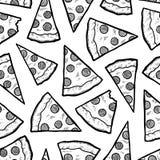 Безшовная предпосылка вектора ломтика пиццы Стоковые Изображения