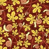 Безшовная предпосылка вектора переплетенных ветвей, улиток и листьев декоративная картина Стоковые Фотографии RF