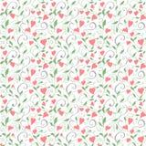 Безшовная предпосылка влюбленности, wedding цветочный узор с сердцами Стоковое Изображение
