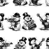 Безшовная предпосылка жизнерадостных снеговиков музыкантов иллюстрация вектора