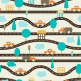 Безшовная предпосылка Картина ` s детей с дорогами, автомобилями, деревьями, светофорами, домами и облаками Брайн, апельсин, голу иллюстрация штока