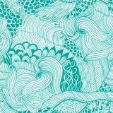 Безшовная предпосылка конспекта картины с красочным орнаментом Иллюстрация притяжки руки, zentangle книжка-раскраски Море водорос Стоковое Фото