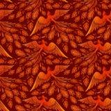 Безшовная предпосылка птицы огня Феникса Татуировки Феникса руки стиль вычерченной японский и китайский, сказание Firebird иллюстрация штока