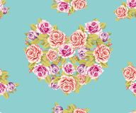 Безшовная предпосылка сердца Rose Стоковые Изображения RF