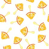 Безшовная предпосылка с изображением апельсина, мандарин акварели картины, мороженое Сочные пульпа и семена для печати иллюстрация вектора