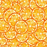 Безшовная предпосылка с изображением апельсина, мандарин акварели картины Сочные пульпа и семена для дизайна печати иллюстрация вектора