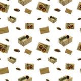 Безшовная предпосылка с коробками рождества Подарочные коробки бумаги Kraft стоковые изображения rf