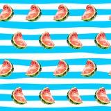 Безшовная предпосылка с кусками арбуза на striped Стоковое Изображение