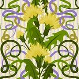 Безшовная предпосылка с одуванчиками цветков в стиле nouveau искусства Стоковая Фотография