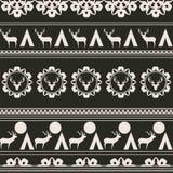 Безшовная предпосылка с оленями и снежинками бесплатная иллюстрация