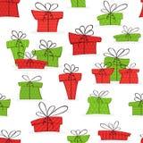 Безшовная предпосылка с подарками на рождество иллюстрация вектора