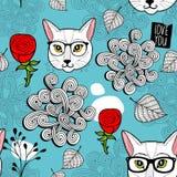 Безшовная предпосылка с портретами кота Стоковые Изображения RF