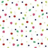 Безшовная предпосылка с различными ягодами Вишни, поленики, виноградины, голубики, смородины иллюстрация штока