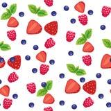 Безшовная предпосылка с различными ягодами и плодоовощами на салатовом фоне иллюстрация вектора