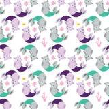 Безшовная предпосылка с русалками кота Смешные котята с рыбами t Стоковые Изображения