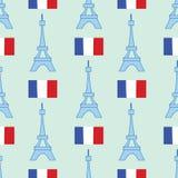 Безшовная предпосылка с символами Парижа - Эйфелева башня и другое иллюстрация штока