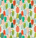 Безшовная предпосылка с стилизованными деревьями Нордическая картина леса иллюстрация штока