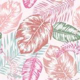 Безшовная предпосылка с троповыми листьями Стоковые Фото