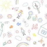 Безшовная предпосылка, текстура от собрания чертежа ` s детей Стоковая Фотография