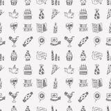 Безшовная предпосылка картины вечеринки по случаю дня рождения Doodle Стоковые Фото