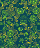 Безшовная предпосылка doodle с mulled теплым вином Стоковая Фотография