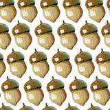 Безшовная предпосылка акварели состоя из жолудей бесплатная иллюстрация