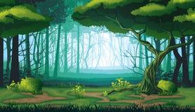 Безшовная предпосылка ландшафта с глубоким лесом Стоковые Изображения